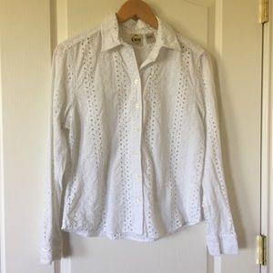 3/$21 B. Moss white eyelet LS button down shirt L